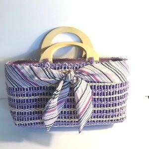 Handbags - Straw Bag with Wooden Handles